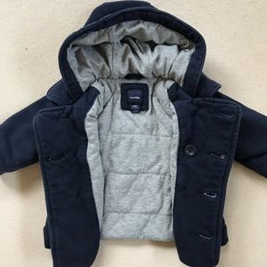 BabyGap Navy Lined Winter Peacoat with Hood